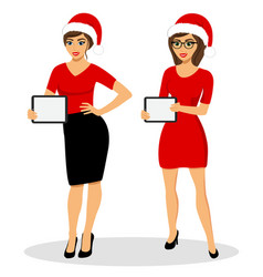 christmas sale girl with a tablet pc girl with vector image