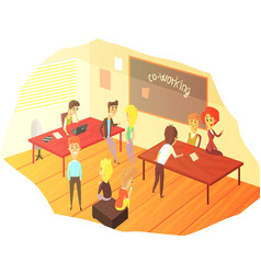 co-working office space with blackboard vector image