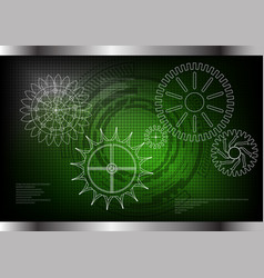 cogwheels on a green vector image