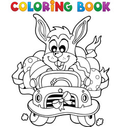 coloring book with easter theme 7 vector image