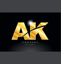Combination letter ak a k gold golden alphabet vector