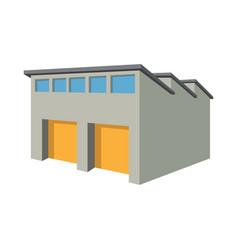 Commercial warehouse with yellow roller doors vector
