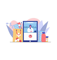 Consultation with female pharmacist and buy cure vector
