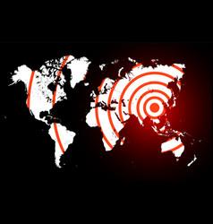 coronavirus foci on world map covid-19 2019-ncov vector image