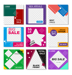 creative commercial social media pack for shop vector image