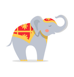 Cure elephant in ornamented cape flat icon vector