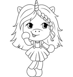 cute baunicorn coloring page for girls vector image