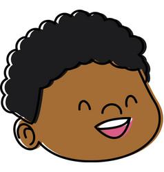 cute boy face cartoon vector image