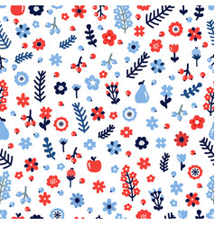 Cute floral seamless pattern with flowers and vector