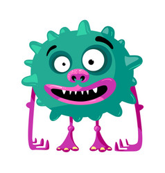Cute monster with funny face toothy mouth vector