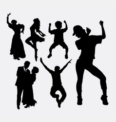 Dancer male and female pose silhouette vector