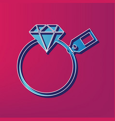 diamond sign with tag blue 3d printed vector image