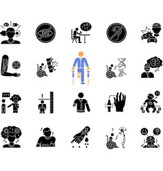 Disability types black glyph icons set on white vector