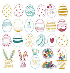 easter collection with eggs and lettering vector image