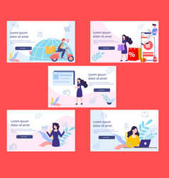 Ecommers investor on landing page vector