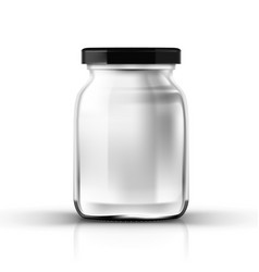 Empty transparent glass jar with screw cap vector