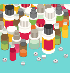 Flat 3d isometric pharmaceutics pharmacy drug web vector