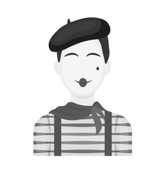 French mime icon in monochrome style isolated on vector