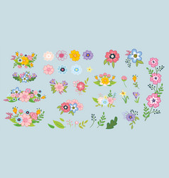 garden flowers and plants cute set vector image