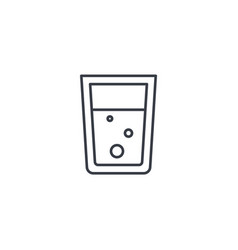 glass of water thin line icon linear vector image