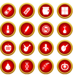 Gmo icon red circle set vector