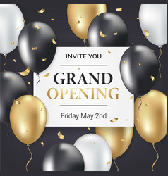 grand opening party invitation card vector image