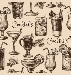 Hand drawn sketch seamless pattern of alcoholic vector image