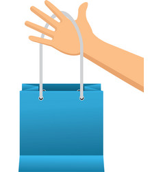 Hand holding shopping bag paper image vector