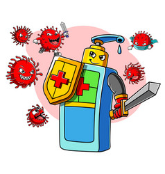 Hand sanitizer character with sword and shield vector