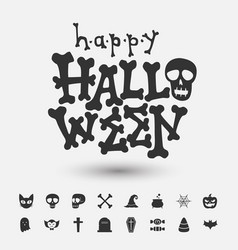 happy halloween greeting card and icon vector image