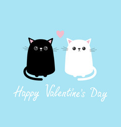 Happy valentines day black white cute cat sitting vector