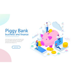 isometric businessman putting a coin into a piggy vector image