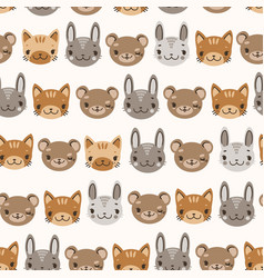 Kids cute seamless pattern with heads of smiling vector