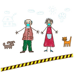 kids drawing grandparents in self-isolation vector image