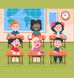 Kids in classroom cartoon children in school vector