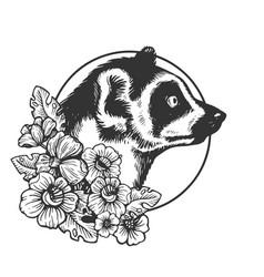 Lemur head animal engraving vector