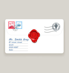 Letter wax seal mailing postal address mail post vector