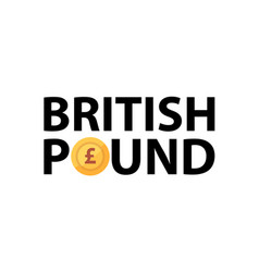 logo with phrase - british pound and golden vector image