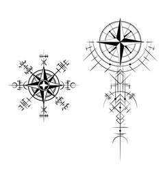 Magic ancient windrose symbols set vector