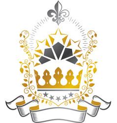Majestic crown emblem heraldic coat of arms vector