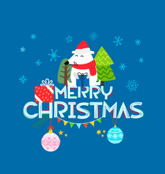 Merry christmas composition cartoon style flat vector