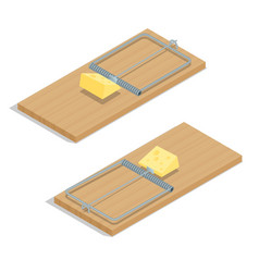Mousetrap with cheese Flat 3d isometric vector