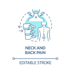 Neck and back pain blue concept icon vector