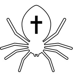 Outline black spider with cross vector