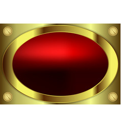 Oval frame gold color vector