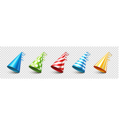 Party shiny hat with ribbon on transparent vector