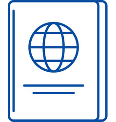 passport line icon concept passport flat vector image
