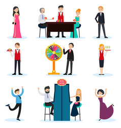 people in casino set vector image vector image