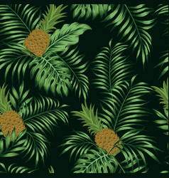 pineapple green leaves black background seamless vector image