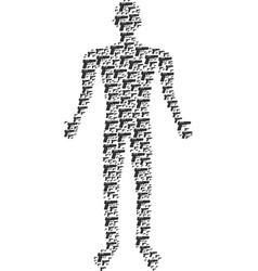 pistol gun human figure vector image